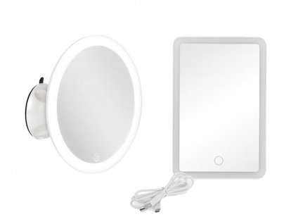 Runder & rechteckiger Kosmetikspiegel mit LED im 2er SET, USB & Touchdimmer, weiß