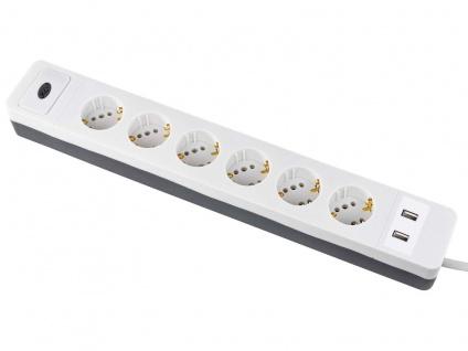 Steckdosenerweiterung 6 fach Leiste, Mehrfachsteckdose mit 2 USB Anschlüssen - Vorschau 4