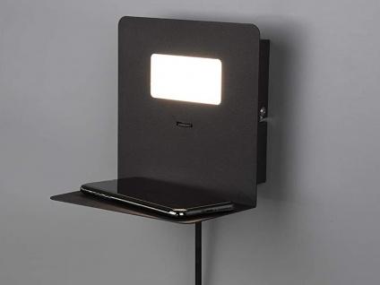 LED Wandleuchte Schwarz USB Anschluss & Ablage Nachttisch Wandlampen fürs Bett - Vorschau 1