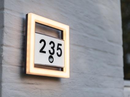 Eckige LED Lichtleisten Hausnummernlampe mit Bewegungssensor Edelstahl Anthrazit