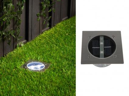 Solar LED-Bodeneinbaustrahler 4-eckig, Edelstahl, Glas, Carlo, IP67