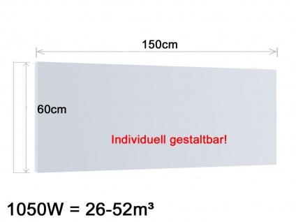 Infrarotheizung, Elektroheizung 1050W, 150x60 cm, Hochglanz weiß, Vitalheizung