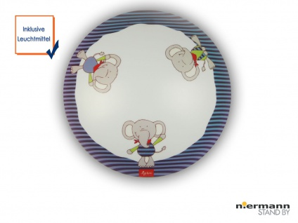 LED Deckenleuchte dimmbar rund Ø35cm Elefanten Motiv Deckenschale Kinderzimmer