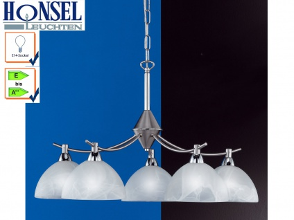Hängeleuchter, Nickel matt, Chrom, Glas weiß, Honsel-Leuchten, AMSTERDAM