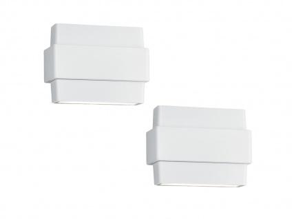 LED Außenwandlampen im 2er SET mit schwenkbarem Up & Downlight, Alu matt weiß