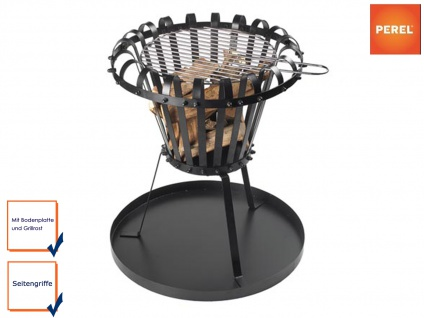 Runder Feuerkorb mit Bodenplatte und Grillrost Schwarz Ø 50cm Feuerstelle Grill