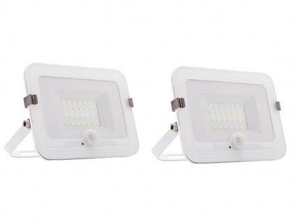 2er Set 20W LED Strahler weiß, Fluter mit Bewegungsmelder, flaches Design, IP44