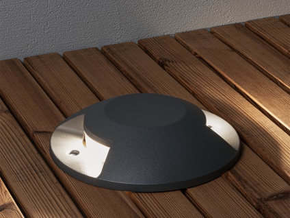 Bodenaufbaustrahler 2 LED Bodenspot Aussenbereich Aufbaustrahler anthrazit IP65