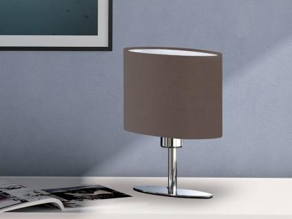 Designklassiker: Schöne LED Tischlampe Silber mit Lampenschirm oval Stoff Braun - Vorschau 1