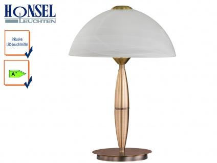 Klassische Tischleuchte Altmessing Glasschirm H. 36cm LED Nachttischlampe Diele - Vorschau 1