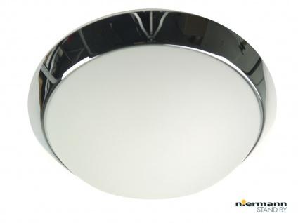 Deckenleuchte rund, Opalglas matt, Dekorring Chrom, Ø 25cm Büroleuchte