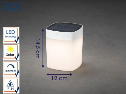 Solar LED Leuchte Weiß 3-Stufen Dimmer Höhe 14, 5cm IP44 Terrassenbeleuchtung