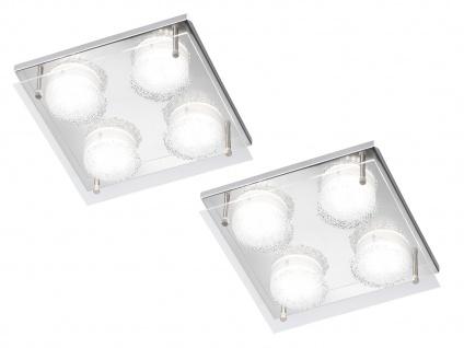 2er Set LED Deckenleuchte, Chorm mit Kristalloptik 22 x 22cm, Designerlampe