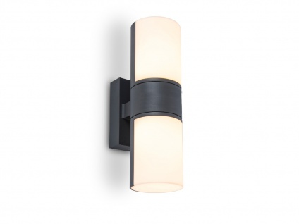 Hochwertige LED Up and Down Wandlampe für draußen drehbar ALU Anthrazit Zylinder