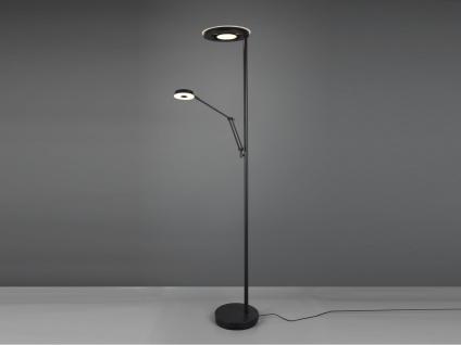 LED Deckenfluter mit Leselampe Schwarz dimmbar Stehlampen Wohnzimmer Flurlampen
