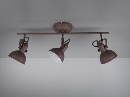 3 flammiger Deckenstrahler im Retro Look aus Metall in Rost dreh-und schwenkbar - Vorschau 5