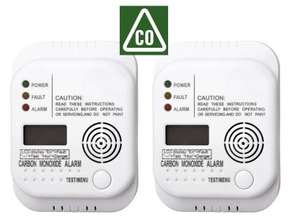 2er SET Kohlenmonoxid Melder mit Display und Temperaturanzeige, Gasmelder