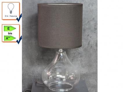 Tischleuchte Tischlampe Tischbeleuchtung VETRO Stoffschirm braun Honsel Leuchten