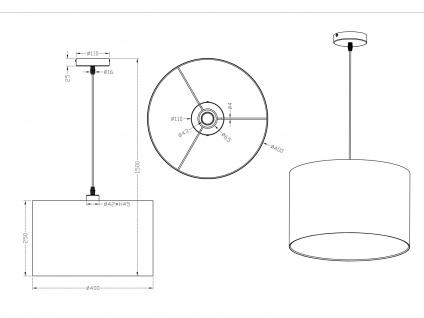 Runde LED Pendelleuchte mit Stoffschirm Weiß - Hängeleuchten für Esstisch Lampen - Vorschau 3