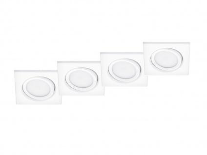 4 Stk. LED Einbaustrahler Decke eckig schwenkbar Weiß matt 5W - Deckenleuchten