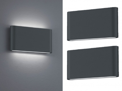 LED Außenwandlampen SET Anthrazit mit Up and Down Wandleuchten für Außenbereich