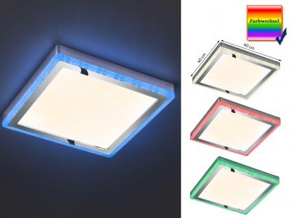 Dimmbare LED Deckenleuchte SLIDE 40x40cm Höhe 4cm mit Fernbedienung Farbwechsler