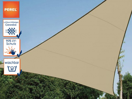 Sonnensegel Dreieck PEREL, Champagner, 360 x 360 x 360 cm, Wasserdurchlässig