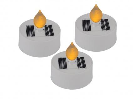LED Teelichter Kerzen im 3er SET - solarbetriebene Solarleuchten für draußen
