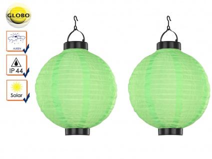 2er Set LED Solarleuchten Lampion grün 25, 5cm, Beleuchtung Garten Terrasse