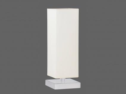 TRIO Tischlampe TOUCH-ME, E14, Höhe 35cm, Nickel, Stoffschirm weiß