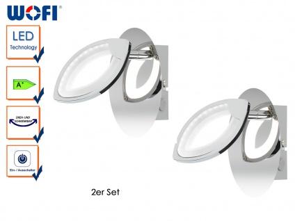 2er Set LED Wandlampe mit Schalter, Chrom, CAREY, Wandleuchte Wandspot LED Spot