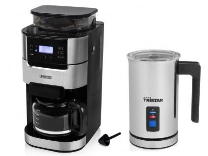 Kaffeemaschine für 10 Tassen mit Bohnen Mahlwerk & elektrischer Milchaufschäumer