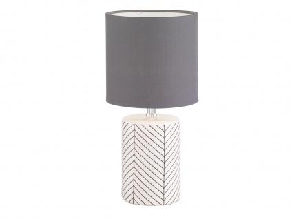LED Tischleuchte Keramik weiß schwarz, Lampenschirm Stoff grau, Wohnzimmerlampen