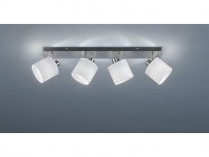 LED Deckenstrahler 4 flammig mit Stoffschirm in Weiß - schwenkbarer Wandstrahler
