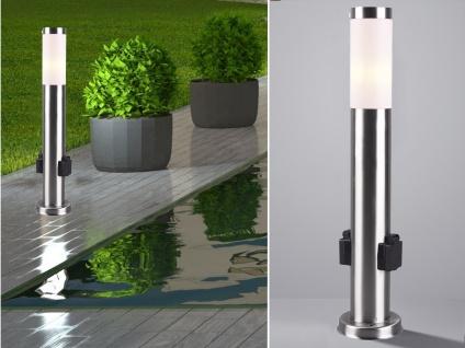 Edelstahl Pollerleuchte mit 2 Steckdosen 60cm Stehlampe für draußen Wegeleuchten