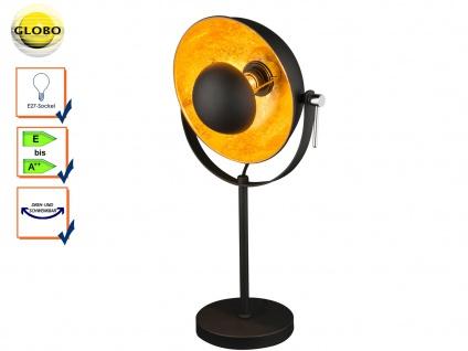 Globo Retro Tischlampe schwarz gold Reflektor schwenkbar, Leuchte Flur Wohnraum