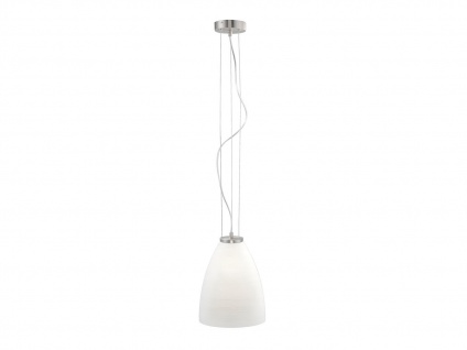 Pendelleuchte mit dimmbare LED, Glasschirm opal gewischt Ø 28cm, weiße Hängelampe