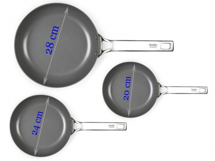 3er SET Keramikpfannen ANTIHAFTBESCHICHTET für Induktion geeignet Ø 20/24 /28 cm - Vorschau 2