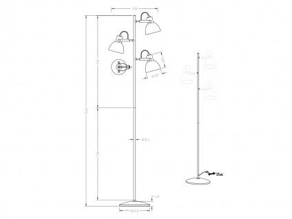 3fl. Standlampe in Nickel matt Glas Lampenschirme drehbar - Wohnraumleuchten - Vorschau 4