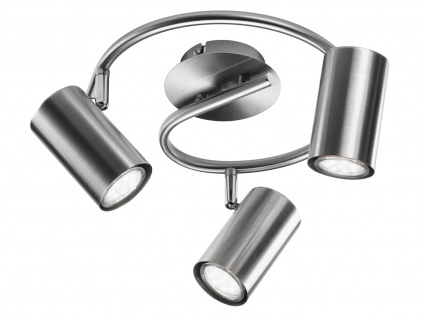 Strahler Lampe Nickel matt 3 Spots schwenkbar mit GU10 LED - Wohnraumleuchten