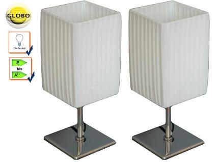 2x Globo Tischlampe BAILEY, Chrom, Faltenschirm, Tischleuchte Wohnzimmer modern