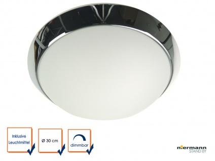 LED Deckenleuchte rund, Opalglas matt, Dekorring Chrom, Ø 30cm, LED Bürolampe