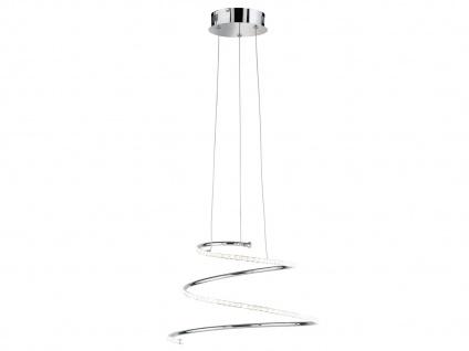 Dimmbare LED Pendelleuchte Ø 49cm Chrom Glas Kristalle, Hängeleuchte Pendel