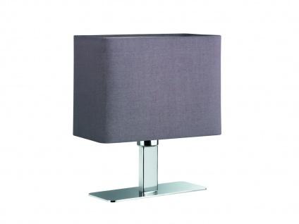 Tischleuchte in Chrom mit eckigem Stofflampenschirm in Grau, Wohnraumleuchte E14