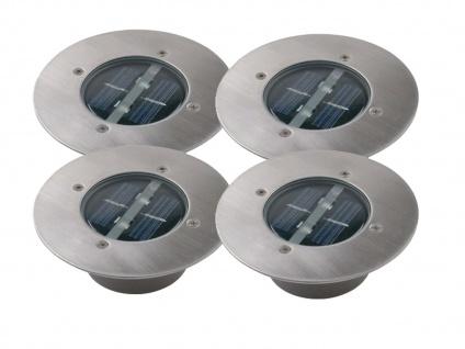 4er-Set LED Solar Bodeneinbaustrahler LUGO, rund, Edelstahl, IP67