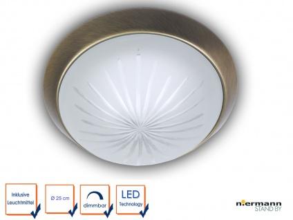 LED Deckenleuchte Schliffglas satiniert, Altmessing Ø 25cm LED Korridorleuchte