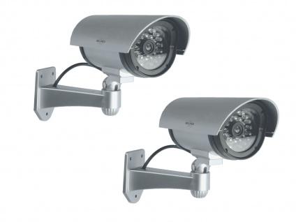 2er Set Kamera Attrappe IR-LED's Aluminium silber - Fake Dummy Innen & Außen - Vorschau 2