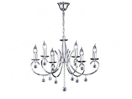 Designklassiker Kronleuchter Lüster Chrom mit Glas 6flammig Ø62cm Kerzen stehend - Vorschau 2