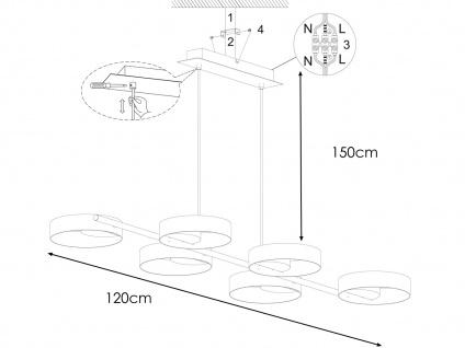Design LED Pendelleuchte Schwarz/Blattgold-Optik höhenverstellbar - Esszimmer - Vorschau 4
