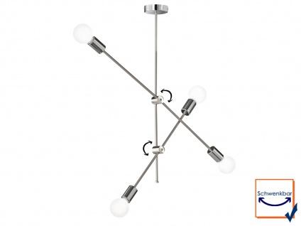 Retro Desing Pendelleuchte 4x LED Arm schwenkbar Nickel matt/Chro fürs Esszimmer - Vorschau 2